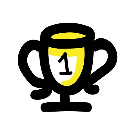 Hand Drawn First Place Trophy. Concept Prize Winner Competition. Simple Icon Motif for Pictogram contest. Winner, Bujo Illustration. Vector EPS 10.