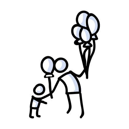 Bonhomme allumette dessiné à la main donnant un ballon à un enfant. Concept de décoration de fête flottante. Motif d'icône simple pour le pictogramme de carnaval. Anniversaire, Enfance, Amusement Bujo Illustration. Vecteur EPS 10.