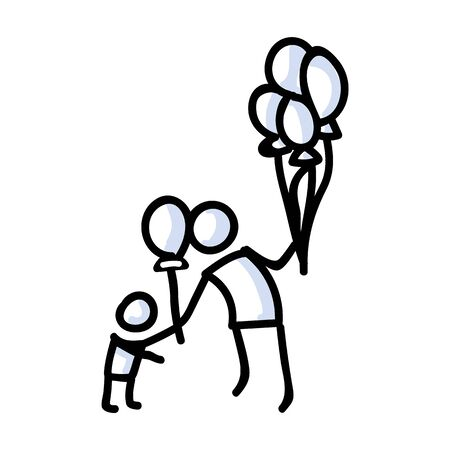 Hand Drawn Stick Figure Giving Balloon To Child. Concept of Floating Party Decoration. Simple Icon Motif for Carnival Pictogram. Birthday, Childhood, Amusement Bujo Illustration. Vector EPS 10.