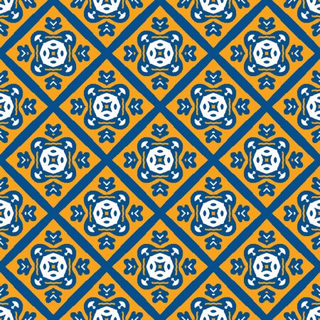 Portuguese Vector Tile Azulejo Pattern. Seamless Lisbon Blue Yellow on White Mosaic Square Background. Traditional Floral Ceramic Mediterranean Style Design. Geometric All Over Print .