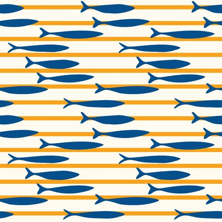 Sardines Fish Stripe Seamless Vector Pattern. Swimming Sea Animal for Lisbon St Anthony Portugese Food Festival. Graphic for Traditional Recipe Branding, Canned Seafood Packaging. Vector Illustration