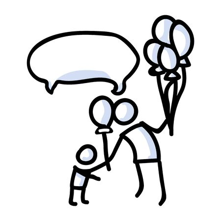 Hand Drawn Stick Figure Giving Balloon To Child. Concept of Floating Party Decoration. Simple Icon Motif for Carnival Speech Bubble. Birthday, Childhood, Amusement Bujo Illustration. Vector EPS 10.