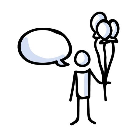 Hand Drawn Stick Figure Holding Balloon Bouquet. Concept of Floating Party Decoration. Simple Icon Motif for Speech Bubble Pictogram. Birthday, Childhood, Amusement Bujo Illustration. Vector EPS 10.