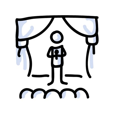 Hand Drawn Stick Figure Performer on Stage. Concept of Theatre Audience Actor. Simple Icon Motif for Comedy Performer Pictogram. Voice, Speech, Stand up, Singer Bujo Illustration.