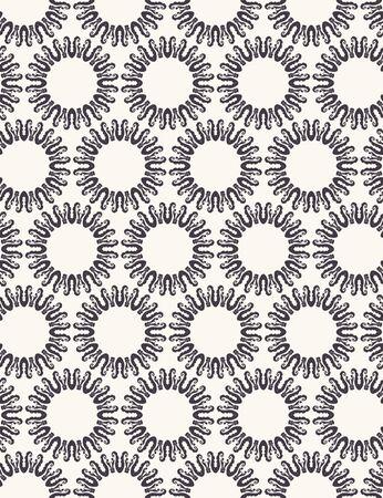 Hand Drawn Persian Sun Circle Motif Seamless Pattern. Ornate Arabesque Background. Classic Monochrome Medallion. Folk Bohemian Textile, Packaging, Wallpaper. Damask All Over Print