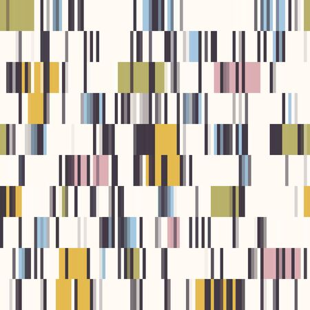 Spliced Stripe Geometric Variegated Background. Seamless Pattern with Woven Dye Broken Lines. Modern Distorted Pixel Textile All Over Print. Trendy Digital Disrupted Glitch Tile Repeat.