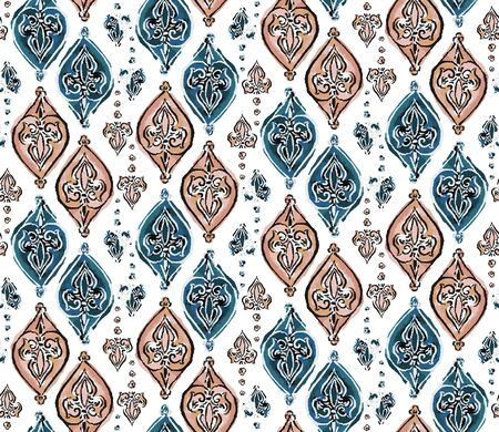 Hand Drawn Indienne Paisley Motif Seamless Pattern. Ornate Arabesque Ornamental on White Background. Painted Ogee Bohemian Damask Textile. Packaging, Wallpaper All Over Print . Illusztráció