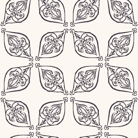 Hand Drawn Persian Paisley Motif Seamless Pattern. Ornate Arabesque Background. Classic Monochrome Medallion. For Bohemian Textile, Packaging, Wallpaper. Damask All Over Print