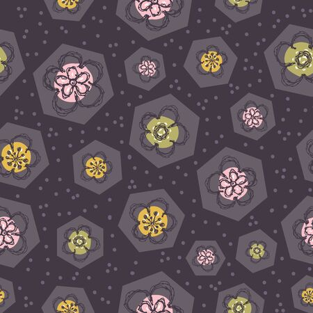 Modern Doodle Daisy Seamless Pattern. Hand Drawn Scribble Flower Repeat. Patchwork Bloom Background. Vintage 60s Line Art. For Summer Textile, Packaging All over print. Cute Wallpaper.