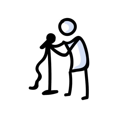 Hand Drawn Stick Figure Holding Microphone. Concept of Comedian Performer. Simple Icon Motif for Stand Up Comedy Pictogram. Stage, Speech, Karaoke, Mic Wire Bujo Illustration. Vector