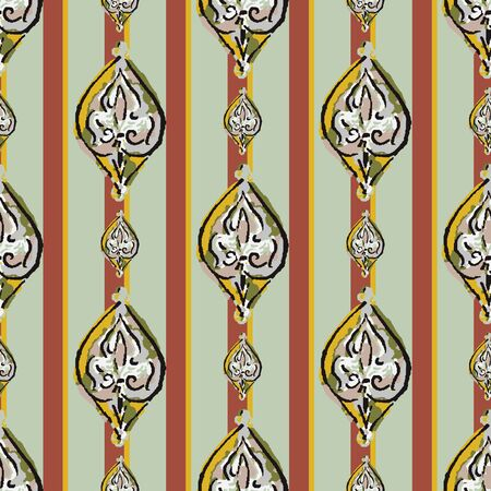 Hand Drawn Indiennne Paisley Motif Seamless Pattern. Ornate Arabesque Ornamental Vertical Stripe Background. Painted Ogee Boho Damask Textile. Packaging, Wallpaper All Over Print.