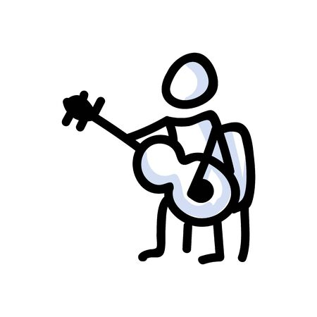 Hand Drawn Stick Figure Playing Guitar. Concept of Musical Instrument Performer. Simple Icon Motif for Entertainment Music Pictogram. Guitarist, Folk, Festival, Karaoke Illustration. Vector