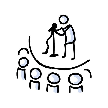 Hand Drawn Stick Figure Comedy Performer on Stage. Concept of Theatre Audience Actor. Simple Icon Motif for Audience Pictogram. Voice, Speech, Stand up, Singer Bujo Illustration.