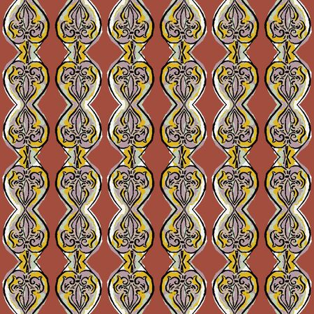 Hand Drawn Indiennne Paisley Motif Seamless Pattern. Ornate Arabesque Ornamental Vertical Stripe Background. Painted Ogee Boho Damask Textile. Packaging, Wallpaper All Over Print Vector.