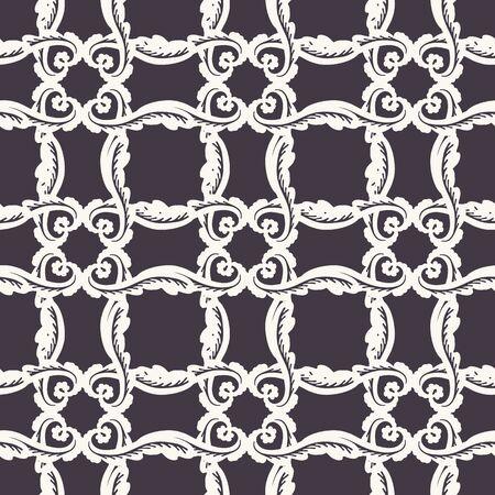 Hand Drawn Swirl Trellis Motif Seamless Pattern. Ornate Arabesque Ornamental Background. Classic Monochrome Black White. Bohemian Textile, Packaging and Wallpaper. All Over Print