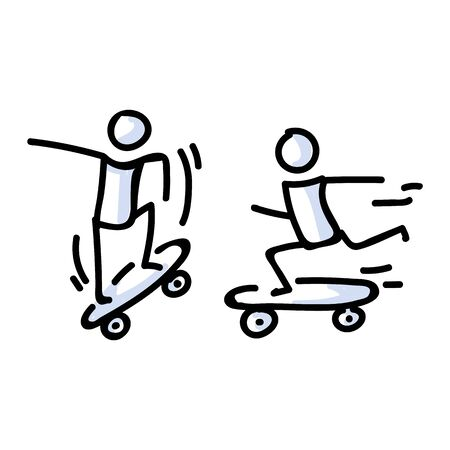 Hand Drawn Two Stick Figure Riders on Skateboard. Concept of Stunt Sport Activity. Simple Icon Motif for Teen Fun Skateboarder Tricks. Jump, Ride, Ramp Bujo Illustration. 向量圖像
