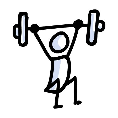 Hand Drawn Stick Figure Lifting Weight. Concept of Gym Excercise Journal Bullet. Simple Icon Motif for Health Activity. Sport, Training, Barbell, Stamina Bujo Illustration.