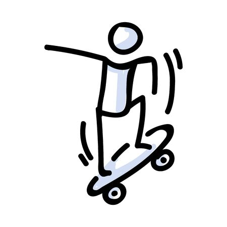 Hand Drawn Stick Figure Jumping on Skateboard. Concept of Stunt Sport Activity. Simple Icon Motif for Teen Fun Skateboarder Tricks. Jump, Ride, Ramp Bujo Illustration.
