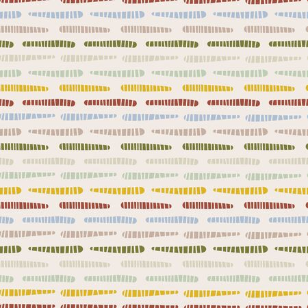 Broken Stripe Texture Seamless Pattern. Thin Horizontal Lines Geo Background. Retro 1960s Style for Trendy Packaging, Textile, Wallpaper. Multicolor Geometric All Over Print.