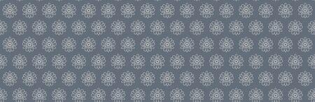 Steel Grey Naive Daisy Bloom Seamless Border Pattern. Hand Drawn Monochrome Floral background. Neutral muted tones. Japanese Bloom Wagara Edging. Daisies Flower Ribbon Trim Bordure.