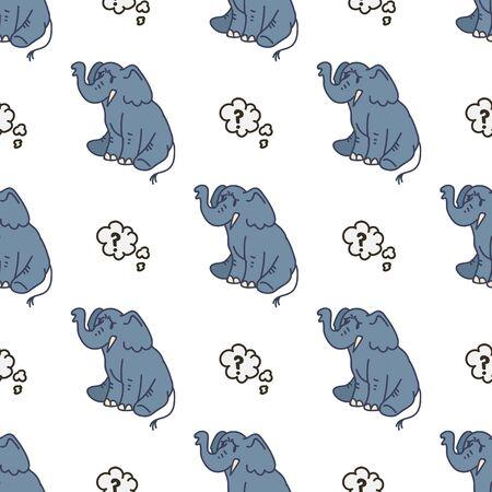Cute Elephant Memory Cartoon Seamless Vector Pattern. Hand Drawn African Animal Tile. All Over Print For Wildlife Blog, Safari, Trunk, Tusk, Mammal Graphic. Speech Bubble Kids Illustration.