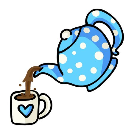 Cute Tea Pouring Cartoon Vector Illustration. Hand Drawn Hot Drink Element Clip Art for Kitchen Concept. Breakfast Graphic, Drink and Crockery Web Buttons. Tea Mug Motif.  イラスト・ベクター素材