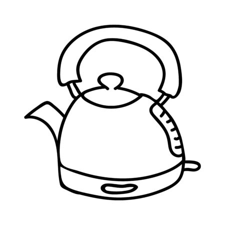 Cute Kettle Line Art Cartoon Vector Illustration. Hand Drawn Hot Drink Element Clip Art for Kitchen Concept. Breakfast Graphic, Drink and Machine Web Buttons. Monochrome Appliance Motif Illustration.