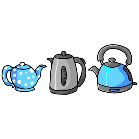 Cute Blue Teapot and Kettle Cartoon Vector Illustration. Hand Drawn Hot Drink Element Clip Art for Kitchen Concept. Lineart Graphic, Drink and Machine Web Buttons. Appliance Motif Illustration.  イラスト・ベクター素材