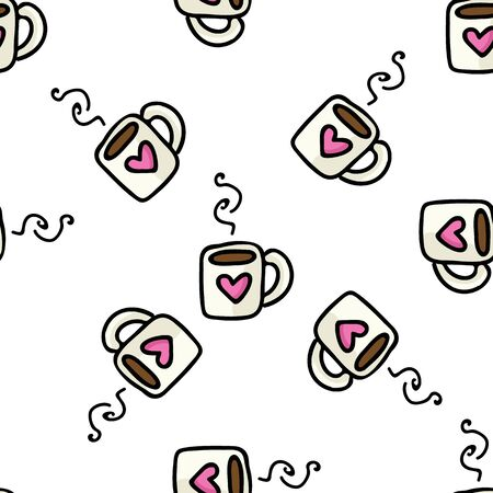 Cute Coffee Mug Cartoon Vector Illustration. Hand Drawn Hot Drink Element Clip Art for Kitchen Concept. Breakfast Graphic, Drink and Crockery Web Button Doodle Motif. Pink Heart.  Illustration