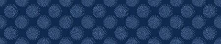 Embroidery Border Boro Fabric Circle. Sashiko Kantha Vector Pattern. Needlework Seamless Banner Edging. Indigo Blue Running Hand Stitch Texture Trim. Wabi Sabi Textile Japan Decor. Washi.
