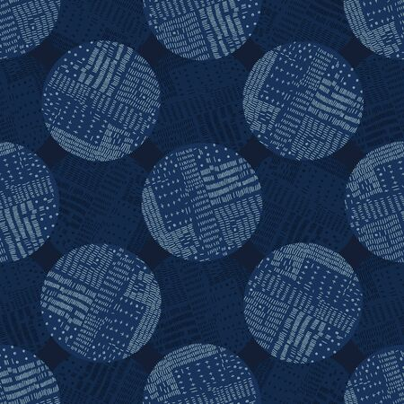 Boro Fabric Patch Kantha Vector Texture. Darning Embroidery Needlework Seamless Background. Indigo Blue Dye. Sashiko Running Stitch Pattern Textile Print.