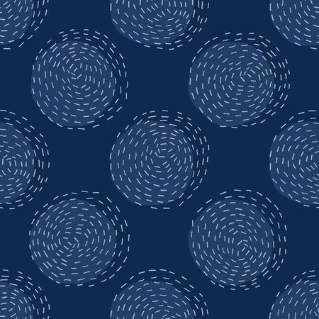Embroidery Circle Sashiko Kantha Vector Pattern. Asian Needlework Seamless Background. Indigo Blue Style.  イラスト・ベクター素材