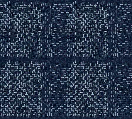 Boro Fabric Patch Kantha Vector Pattern. Darning Embroidery Needlework Seamless Background. Indigo Blue Dye. Sashiko Running Stitch Texture Textile Print. Japan Fashion Masculine Quilting Tile.
