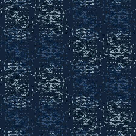 Boro Fabric Patch Kantha Vector Texture. Darning Embroidery Needlework Seamless Background. Indigo Blue Dye. Sashiko Running Stitch Pattern Textile Print. Japan Fashion Masculine Quilting. Vetores