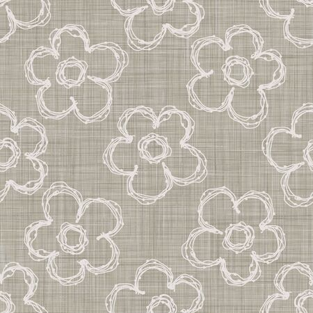 Natural Gray French Linen Texture Background printed with White Daisy Flower. Old Ecru Flax Fibre Seamless Pattern. Organic Yarn Close Up Weave Fabric for Wallpaper, Cloth Packaging,