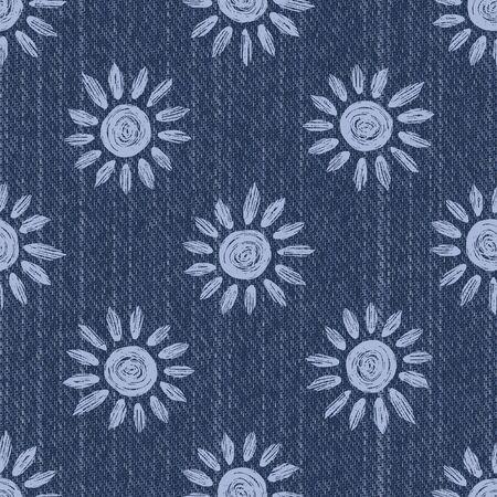 Raw Denim Blue Chambray Texture Background with Printed White Daisy. Indigo Stonewash Seamless Pattern. Vector Illustration