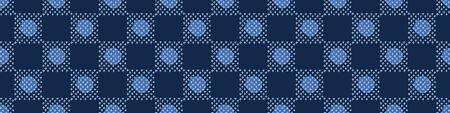 Embroidery Border Boro Fabric Circle. Sashiko Kantha Vector Pattern. Needlework Seamless Banner Edging. Indigo Blue Running Hand Stitch Texture Trim. Wabi Sabi Textile Japan Decor.