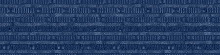 Embroidery Boro Fabric Sashiko Kantha Vector Border Pattern. Striped Needlework Banner Background Indigo Blue Style. Running Hand Stitch Texture Textile Trim. Japan Decor. Masculine Washi.  イラスト・ベクター素材
