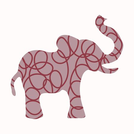 Cute Toy Elephant Clipart Vector Motif. Kids Safari Animal with Fun Playful Polka Dot Pattern. Hand Drawn for Gender Neutral Baby, Nursery and Kid Decor. Kawaii Wildlife Zoo Illustration.