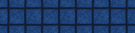 Dark Blue Denim Linen Vector Border Pattern. Heathered Marl Quilt Patchwork Effect. Woven Indigo Space Dyed Texture Banner Trim. Fabric Textile Background bordure Edging. Cotton Washi Tape