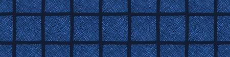 Dark Blue Denim Linen Vector Border Pattern. Heathered Marl Quilt Patchwork Effect. Woven Indigo Space Dyed Texture Banner Trim. Fabric Textile Background bordure Edging. Cotton Washi Tape