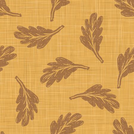 Gold French Linen Texture Background printed with Brown Falling Leaves. Natural Dye Ecru Flax Fibre Seamless Pattern. Organic Close Up Weave Fabric for Wallpaper, Cloth Packaging,