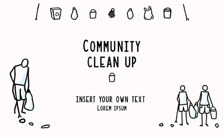 Community Clean Up Flyer with Stick Figures Trash Collecting. Concept of Save the Planet. Icon Motif for Environmental Earth Day Volunteer Invitation, Eco Beach Cleaning Recycling. Vector