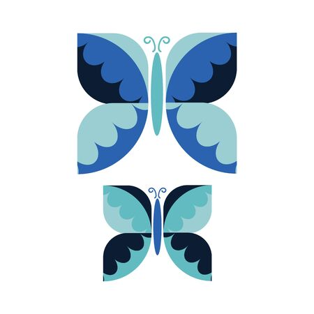 Two Vintage Geometric Butterfly Vector Illustration. Hand Drawn 60's Style Garden Insect Simple Motif. Retro Classic Blue Bug Wildlife Clip Art.  Ilustração