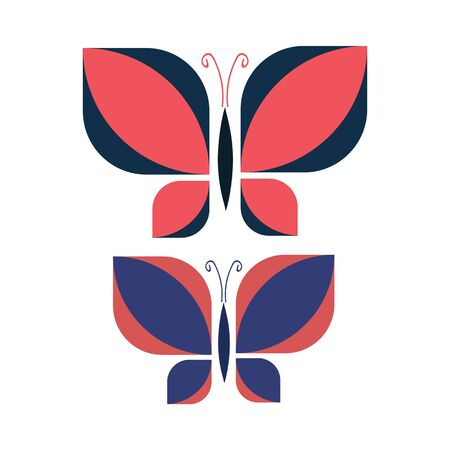 Two Vintage Geometric Butterfly Vector Illustration. Hand Drawn 60s Style Garden Insect Simple Motif. Retro Classic Blue and Pink Bug Wildlife Clip Art.