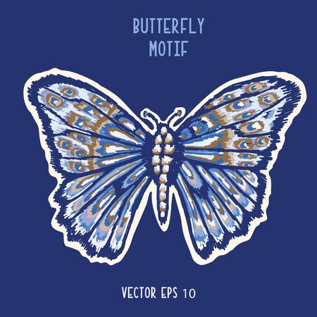 Detailed Butterfly Hand Painted Icon Motif. Realistic Blue Morpho Wings for Nature Clip Art Sticker, Isolated Element. Midgnight Indigo Blue Exotic Collection of Winged Insect. Archivio Fotografico - 138451644