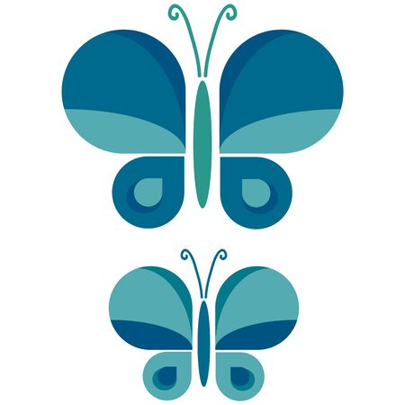 Two Retro Geometric Butterfly Vector Illustration. Hand Drawn 60s Style Garden Insect Simple Motif. Vintage Light Classic Blue Bug Wildlife Clip Art.