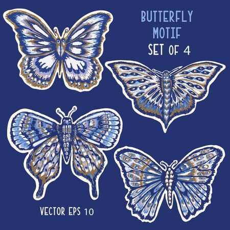 Detailed Butterflies Hand Painted Icon Motif. Realistic Blue Morpho Wings for Nature Clip Art Sticker, Isolated Element. Midgnight Indigo Blue Exotic Collection of Winged Insect.