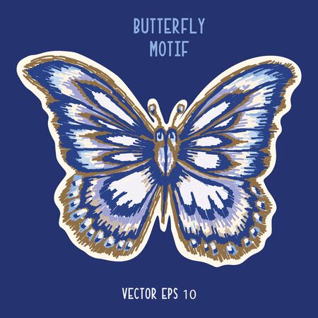 Detailed Butterfly Hand Painted Icon Motif. Realistic Blue Morpho Wings for Nature Clip Art Sticker, Isolated Element. Midgnight Indigo Blue Exotic Collection of Winged Insect.