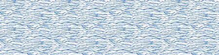 Flowing Wave Water Texture Seamless Vector Border Pattern. Blue Hand Drawn for Lake, River, Sea or Ocean Pool Background. Great for Marine Packaging, Vacation Brochure. Vector Ribbon Trim  イラスト・ベクター素材